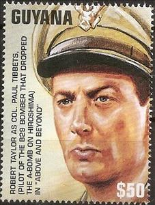 "Stamp, Robert Taylor as Col.Paul Tibbets in ""Above and Beyond"", Guyana,  , Actors, Movies, Second World War"