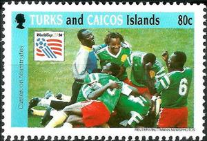 Stamp, Cameroun team, Turks and Caicos Islands,  , Football (Soccer), Sports