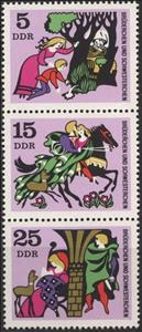 Se-tenant, Fairy Tales, Germany, Democratic Republic (DDR),  , Animals (Fauna), Fairy Tales, Flowers, Horses, Swords, Trees, Weapons