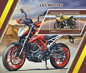 Souvenir Sheet, Motorcycles, Central African Republic,  , Motors