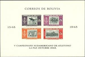 Souvenir Sheet, South American Sport Games, Bolivia,  , Basketball, Buildings, Equestrianism and horse riding, Fencing, Horses, Sports