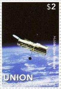 Stamp, Hubble Space Telescope, Saint Vincent Grenadines,  , Outer Space, Space Traveling, Telescopes