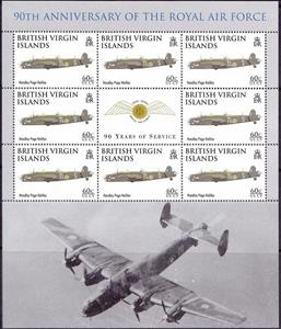 Souvenir Sheet, Handley Page Halifax, British Virgin Islands,  , Air Forces, Aircraft, Anniversaries and Jubilees, Aviation