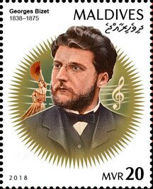 Stamp, Georges Bizet (1838-1875), Maldives,  , Composers, Famous People, Music, Musicians