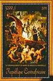 Stamp, Disembarkation at Marseilles of Marie de Medicis, Central African Republic,  , Painters, Paintings