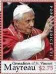 Stamp, Pope Benedict XVI, Saint Vincent Grenadines,  , Clergy, Famous People, Men, Popes