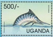 Stamp, Blue Marlin (Macaira nigricans), Uganda,  , Fishes, International Years