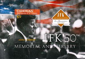 Souvenir Sheet, Johnn F Kennedy, Saint Vincent Grenadines,  , Famous People, Heads of State
