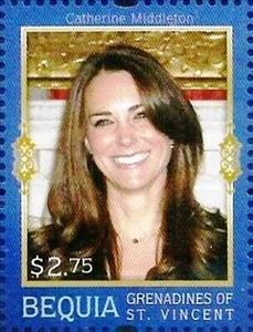 Stamp, Prince William and Catherine Middleton engagement, Saint Vincent Grenadines,  , Famous People, Princesses, Royalty, Weddings
