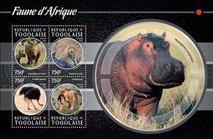 Mini Sheet, African Fauna, Togo,  , Animals (Fauna), Birds, Cats of Prey, Hippopotamuses, Leopards, Mammals, Ostriches, Rhinoceroses