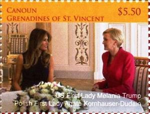 Stamp, Melania Trump and Agate Kornhauser-Dudain, Saint Vincent Grenadines,  , Heads of State