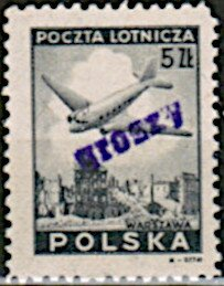 Stamp, Douglas plane, overprinted, Poland,  , Aircraft, Townscapes / City Views