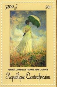 Stamp, Woman with umbrella turned towards the right, Central African Republic,  , Painters, Paintings