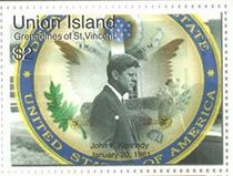 Stamp, John F. Kennedy and State Department Seal, Saint Vincent Grenadines,  , Famous People, Heads of State, Seals (Emblems)
