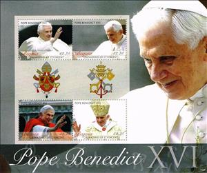 Mini Sheet, Pope Benedict XVI, Saint Vincent Grenadines,  , Famous People, Popes