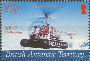Stamp, Bell 47 Helicopter, British Antarctic Territory (BAT),  , Anniversaries and Jubilees, Aviation, Expeditions, Helicopters