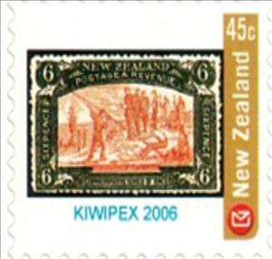 Stamp, Kiwipex 2006 6d Olive Christchurch Exhibition, Personalized & Private Mail Stamps,  , Advertisements, Philatelic Exhibitions, Stamps