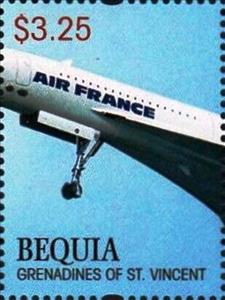 Stamp, Concorde, Saint Vincent Grenadines,  , Aircraft, Aviation