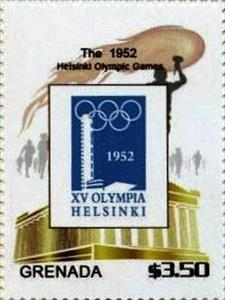 Stamp, Historic Poster, Grenada,  , Olympic Games, Promotional Posters