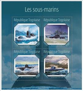 Mini Sheet, Submarines, Togo,  , Military Forces, Submarines